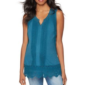 A Pea in the Pod teal crochet tank top size small